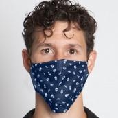 Mascarilla Alejandro logos calaveras azul